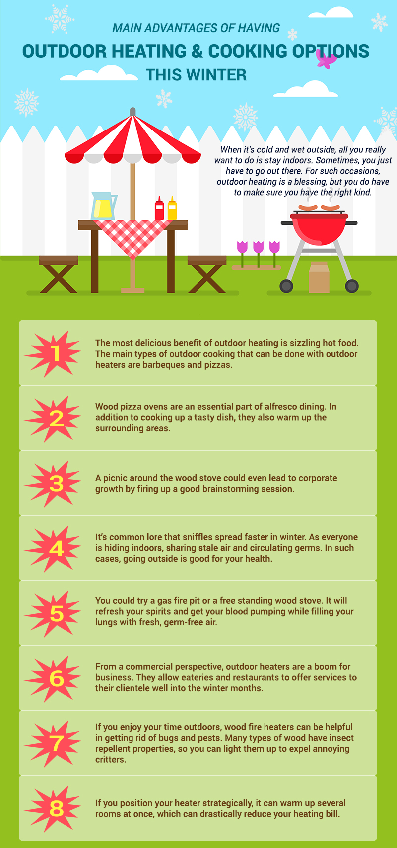 Main Advantages of Having Outdoor Heating and Cooking Options this Winter